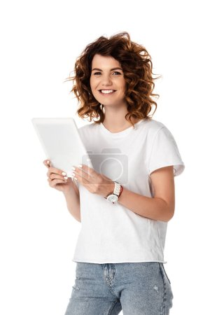cheerful woman holding digital tablet with blank screen isolated on white