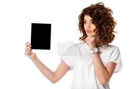 Photo for Pensive woman holding digital tablet with blank screen isolated on white - Royalty Free Image