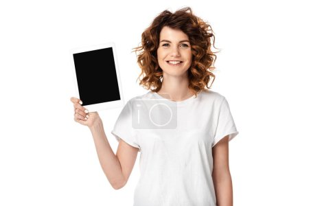 Photo for Happy woman holding digital tablet with blank screen isolated on white - Royalty Free Image