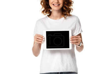 Photo for Cropped view of cheerful woman holding digital tablet with blank screen isolated on white - Royalty Free Image