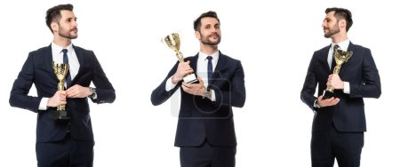 collage of bearded businessman holding golden trophy isolated on white