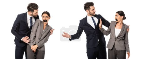 Photo for Collage of businesswoman with duct tape on mouth showing stop sign to businessman isolated on white - Royalty Free Image
