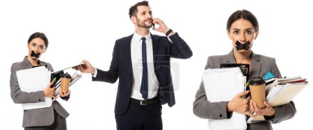 Photo for Collage of businessman talking on smartphone near secretary with scotch tape on mouth holding paper cup isolated on white, sexism concept - Royalty Free Image