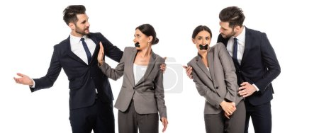 Photo for Collage of businesswoman with scotch tape on mouth showing stop sign to businessman isolated on white - Royalty Free Image
