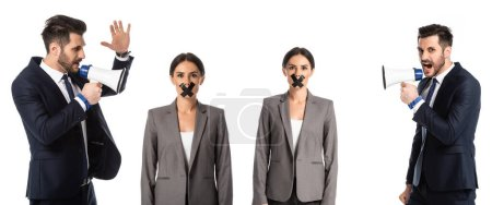 Photo for Collage of businessman screaming in megaphone near businesswoman with duct tape on mouth isolated on white - Royalty Free Image