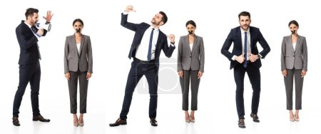 Photo for Collage of man pointing with thumbs at himself while screaming in megaphone near woman with scotch tape on mouth isolated on white - Royalty Free Image