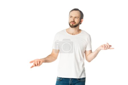 confused man showing shrug gesture isolated on white