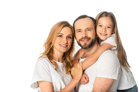 Photo for Happy family in white t-shirts embracing isolated on white - Royalty Free Image