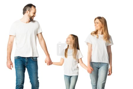 Photo for Happy casual family holding hands while walking isolated on white - Royalty Free Image