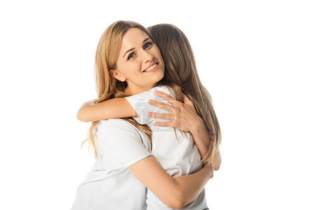 Photo for Happy mother hugging daughter isolated on white - Royalty Free Image