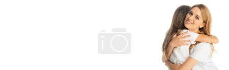 Photo for Happy mother hugging daughter isolated on white, panoramic shot - Royalty Free Image
