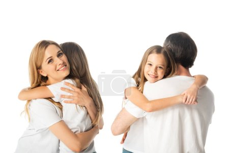 Photo for Collage of daughter hugging mother and father isolated on white - Royalty Free Image