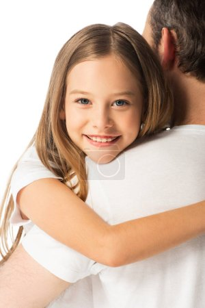 Photo for Close up view of happy daughter embracing father isolated on white - Royalty Free Image
