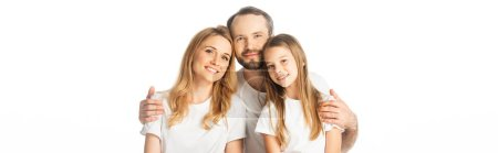 Photo for Happy family embracing isolated on white, panoramic shot - Royalty Free Image
