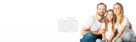 Photo for Panoramic shot of happy family embracing isolated on white - Royalty Free Image