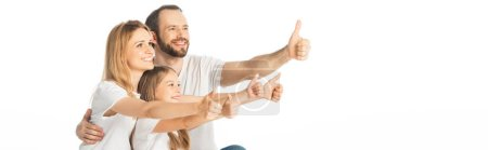 Photo for Happy family showing thumbs up isolated on white, panoramic shot - Royalty Free Image