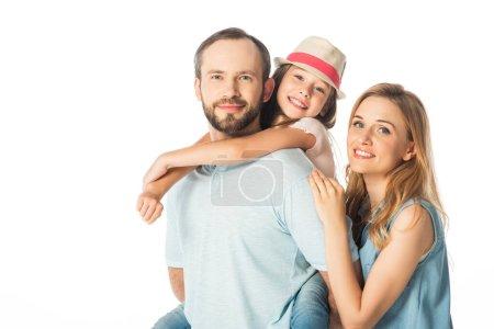Photo pour Heureuse famille souriante embrassant isolé sur blanc - image libre de droit