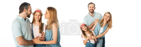 Photo for Collage of happy smiling family hugging isolated on white, panoramic shot - Royalty Free Image