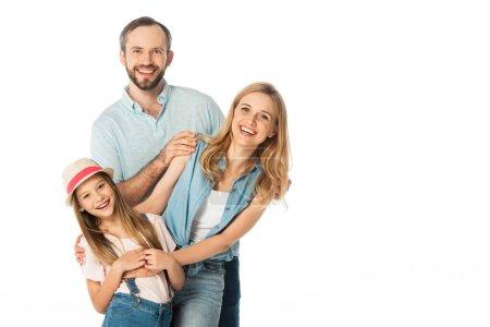 Photo pour Heureux famille souriant à la caméra isolé sur blanc - image libre de droit