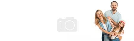 Photo for Happy family smiling at camera isolated on white, panoramic shot - Royalty Free Image