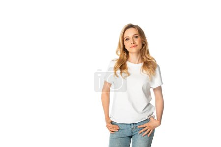 attractive adult woman looking at camera isolated on white