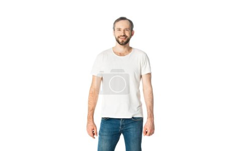 Photo for Front view of smiling man isolated on white - Royalty Free Image