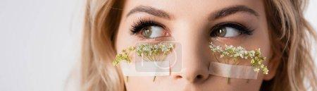 Photo pour Vue recadrée de belle femme blonde avec des fleurs sauvages sous les yeux isolés sur blanc, vue panoramique - image libre de droit