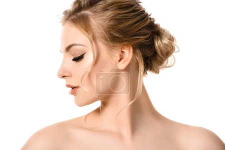 profile of naked beautiful blonde woman with makeup isolated on white