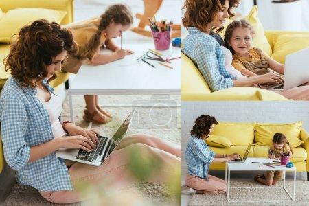 collage de jeune nounou à l'aide d'un ordinateur portable et adorable dessin d'enfant avec des crayons