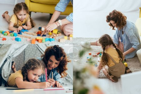 collage of nanny and child playing with multicolored block and drawing in toy wigwam