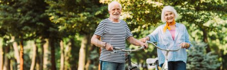 Photo for Panoramic shot of smiling elderly couple with bikes looking at camera in park - Royalty Free Image
