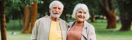 Panoramic crop of smiling senior woman embracing husband in park