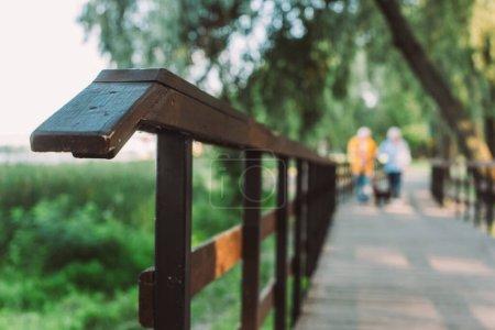 Foco selectivo de puente de madera y pareja caminando en parque