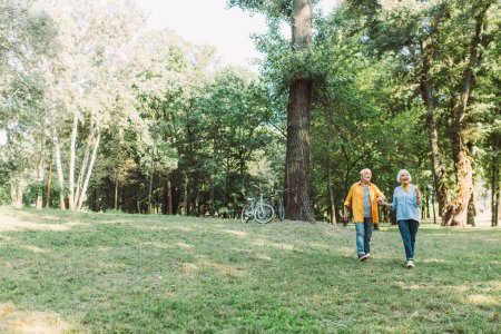 Photo for Smiling senior woman pointing with finger while walking with husband in park during summer - Royalty Free Image