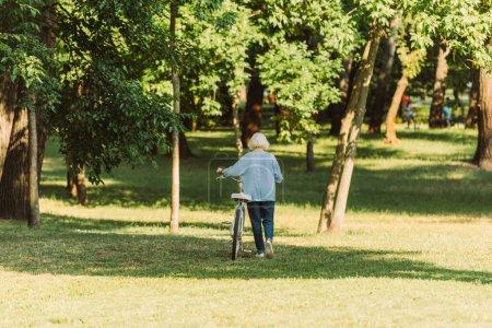 Photo pour Vue arrière de la femme âgée marchant à vélo sur l'herbe dans le parc - image libre de droit