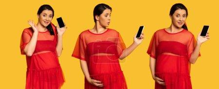 Photo pour Collage de femme enceinte agitant la main et touchant le ventre tout en tenant smartphone avec écran blanc sur jaune, concept panoramique - image libre de droit