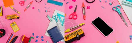 Photo for Collage of school stationery near smartphone with blank screen and school bus model on pink, horizontal concept - Royalty Free Image