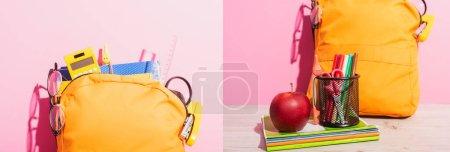 Photo pour Collage de sac à dos rempli de fournitures scolaires près des carnets, pomme et porte-stylo avec stylos en feutre sur rose, image horizontale - image libre de droit