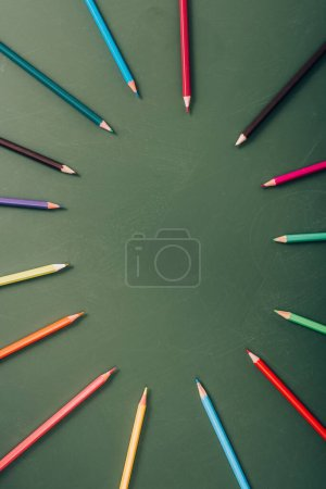 Photo for Top view of empty frame of color pencils on green chalkboard - Royalty Free Image