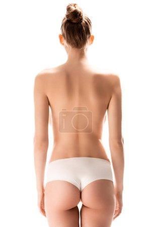 vue arrière de la femme debout isolé sur blanc