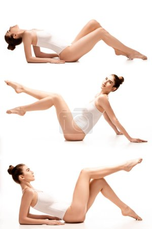 Photo for Collage of barefoot young woman in bodysuit lying on white - Royalty Free Image