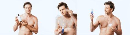 Photo pour Collage d'un homme torse nu tenant une bouteille de lotion et appliquant du toner isolé sur du blanc - image libre de droit