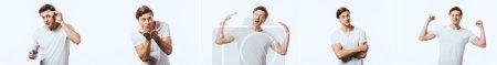 Photo pour Collage de jeune homme appliquant lotion avec coton et geste isolé sur blanc - image libre de droit