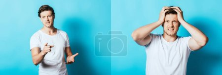 Collage of angry man pointing with finger at camera on blue background