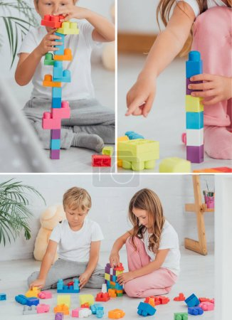 collage of brother and sister in pajamas sitting on floor and playing with building blocks