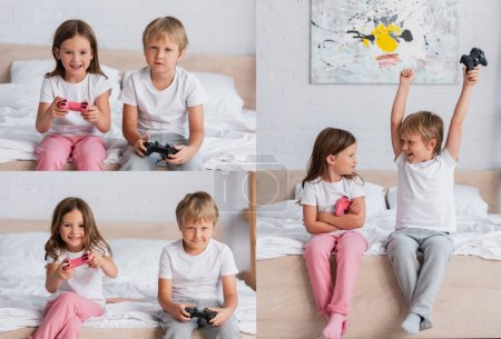 KYIV, UKRAINE - JULY 21, 2020: collage of brother and sister in pajamas playing video game, and boy showing winner gesture near upset girl