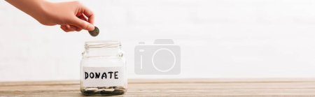 Photo for Cropped view of woman putting coin in penny jar with donate lettering on wooden surface on white background, panoramic shot - Royalty Free Image