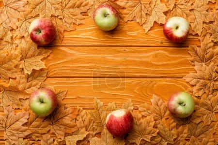 vue de dessus des pommes mûres et du feuillage automnal sur fond de bois