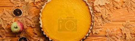 top view of pumpkin pie with apples, dried citrus fruit and autumnal foliage on wooden background, panoramic shot
