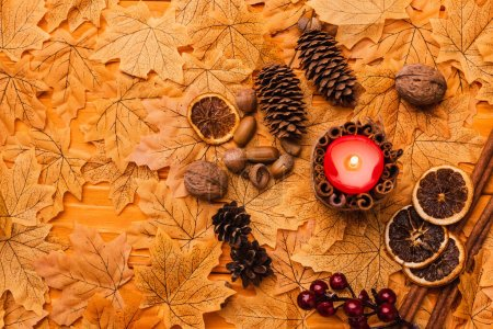 top view of burning candle with autumnal brown decoration on golden foliage